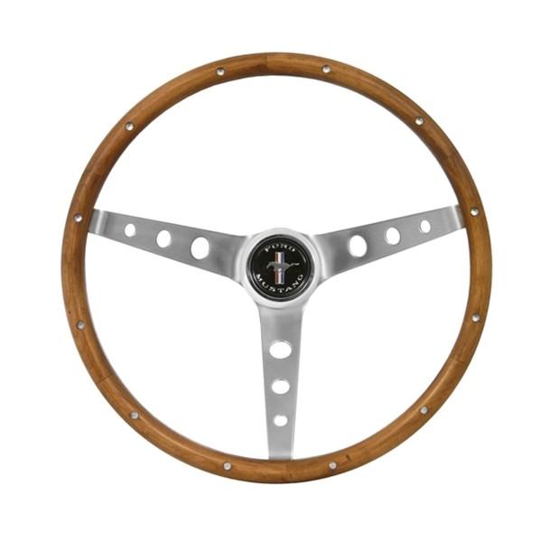 """Lenkrad Grant Holz 13 1/2"""", mit Hupenknopf mit Mustang Logo"""