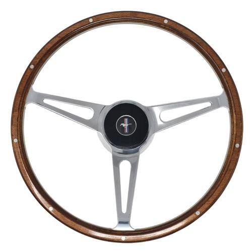 "Lenkrad 3-Speichen ""Shelby Style"" mit Nabe in 15"" mit Mahagoni Look, 68-73"