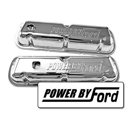 "Ventildeckel Chrom, ""Powered by Ford"", 67-73 OEM, 260-351W"