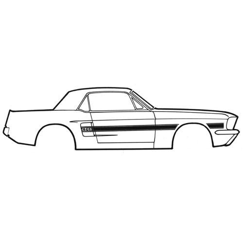 Zierstreifen, 68, GT/CS, Schwarz