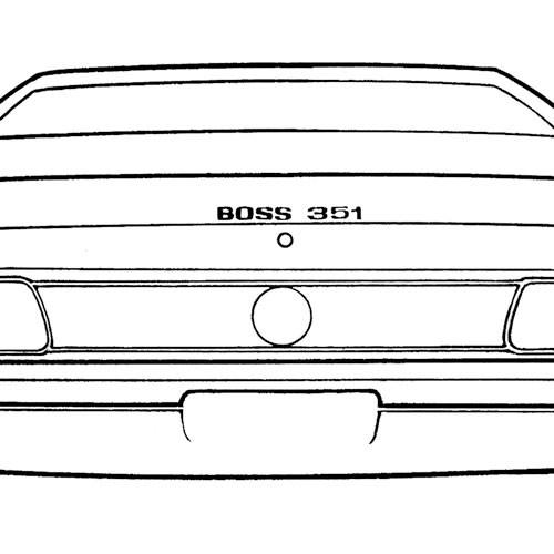 """Aufkleber """"Boss 351"""", 71, Kofferdeckel, Silber"""