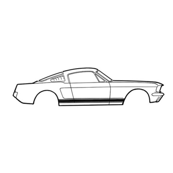 Zierstreifen Schweller, 65-66, GT, Schwarz