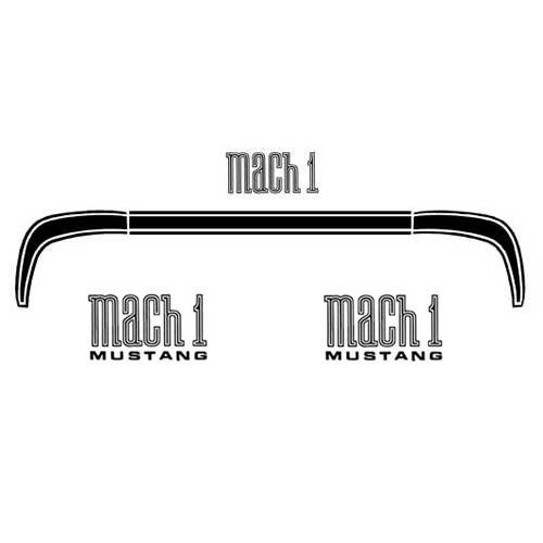 Zierstreifen, 71-72, MachI, Kofferdeckel & MachI-Embleme, Schwarz