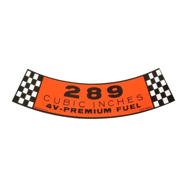Luftfilteraufkleber 289 4V 65-68