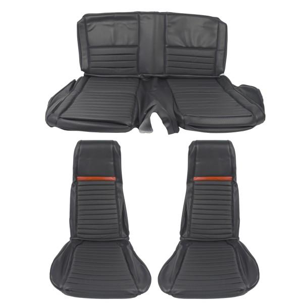 Sitzbezugsatz MACH I, 69 Fastback, Schwarz/Rot (Black/Red)