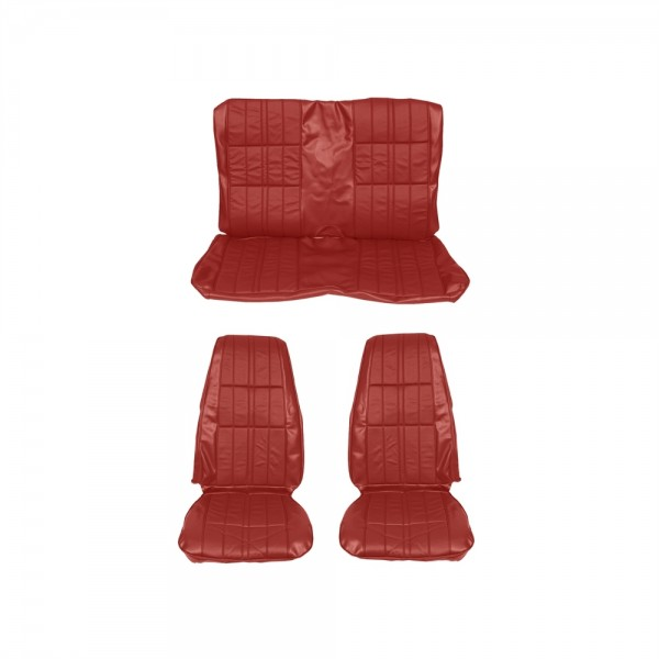Sitzbezugsatz Deluxe, 71-73 Fastback, Zinnoberrot (Vermillion)