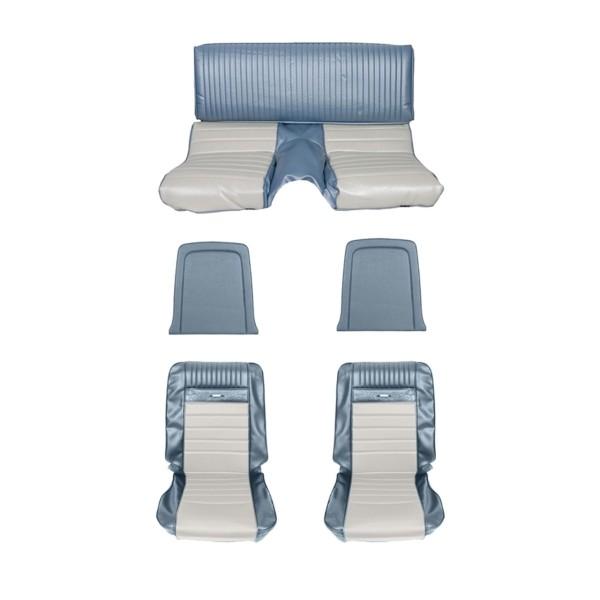 Sitzbezugsatz Pony, 65-66 Fastback, Blau/Weiß (Blue/White)