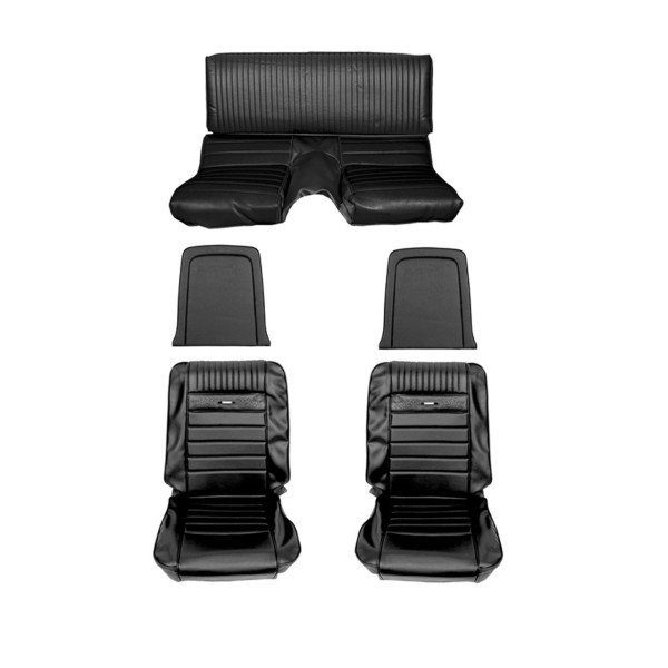 Sitzbezugsatz Pony, 65-66 Fastback, Schwarz (Black)