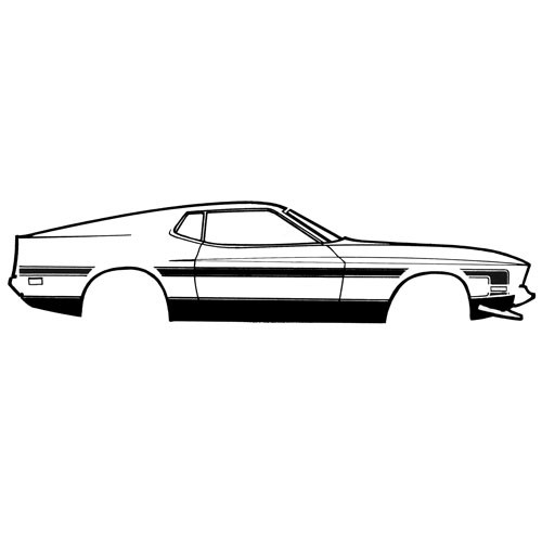Zierstreifen, 71-72, MachI & Boss, Seitenwand, Schwarz