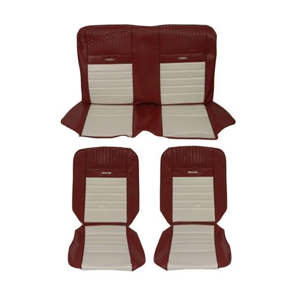 Sitzbezugsatz Pony, 66 Coupe, Rot/Weiß (Red/White)