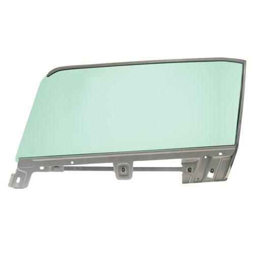 Türscheibe mit Rahmen, vorne LH, 67-68 Cabrio, grün getönt