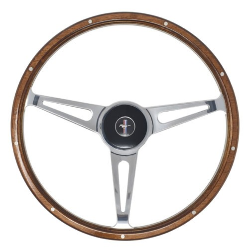 "Lenkrad 3-Speichen ""Shelby Style"" mit Nabe in 15"" mit Mahagoni Look, 65-67"
