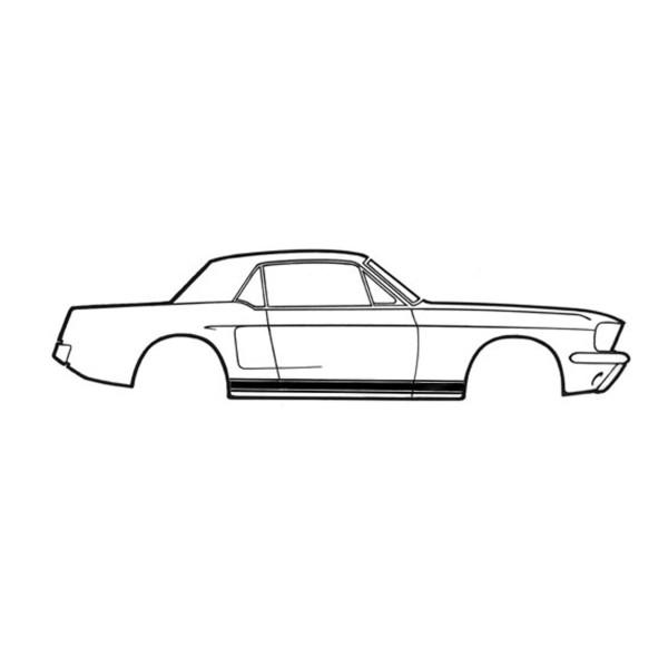 Zierstreifen Schweller, 67, GT, Schwarz
