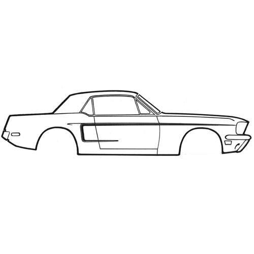 Zierstreifen, 68, C-Form, Schwarz